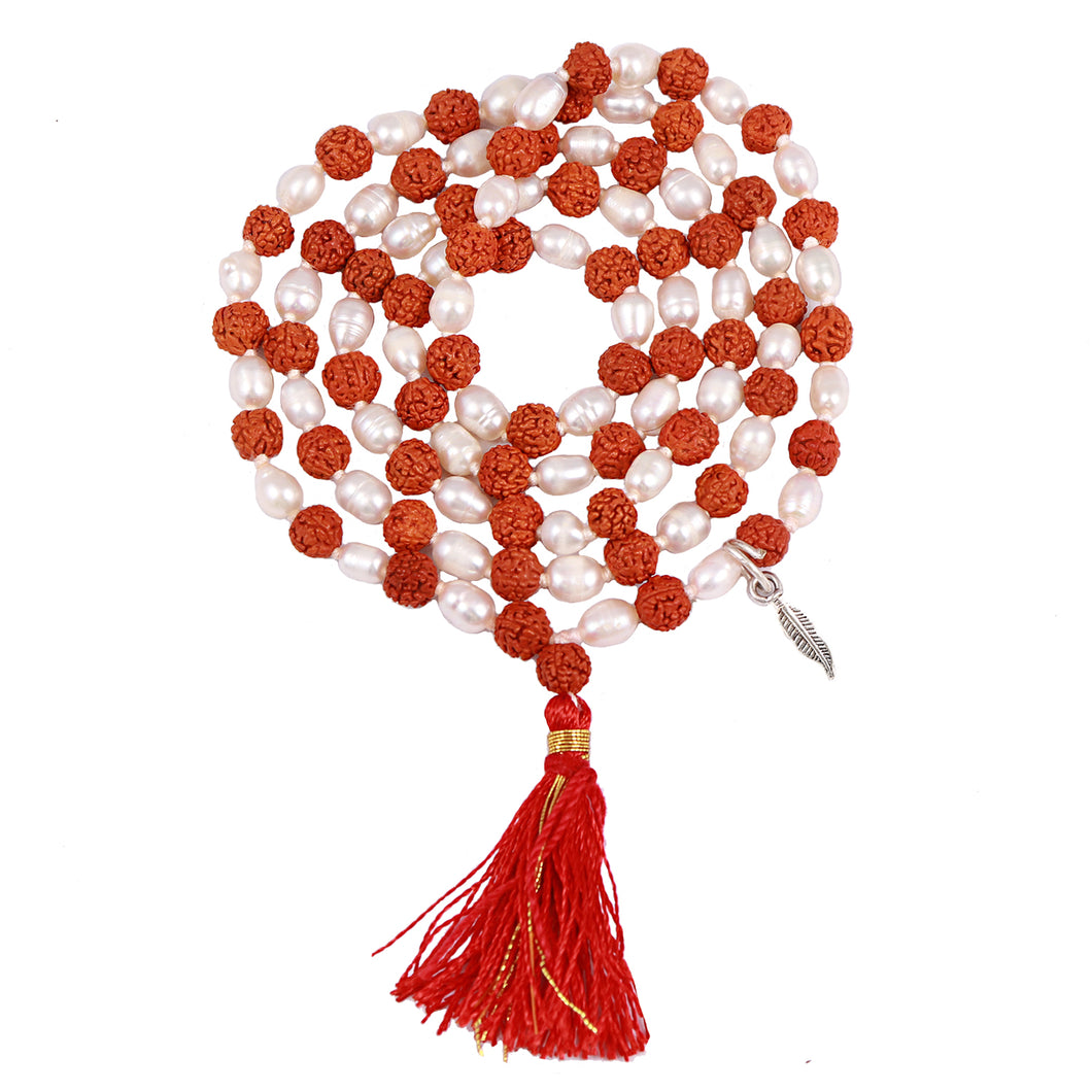 Rudraksha Pearl (Moti) Mala with Lucky Charm Feather Pendant