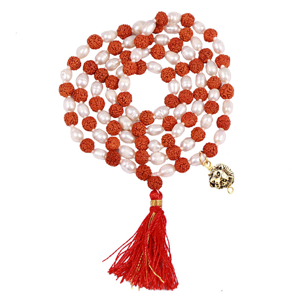 Rudraksha Pearl (Moti) Mala with Lucky Charm Lion Pendant