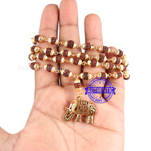 Load image into Gallery viewer, 5 Mukhi Rudraksha Mala in gold plated caps with Elephant Pendant - 2