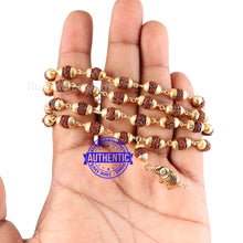 Load image into Gallery viewer, 5 Mukhi Rudraksha Mala in gold plated caps with Elephant Pendant - 3