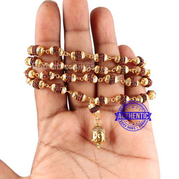 5 Mukhi Rudraksha Mala in gold plated caps with Lord Buddha Pendant