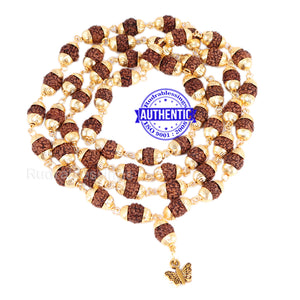 5 Mukhi Rudraksha Mala in gold plated caps with Butterfly Pendant