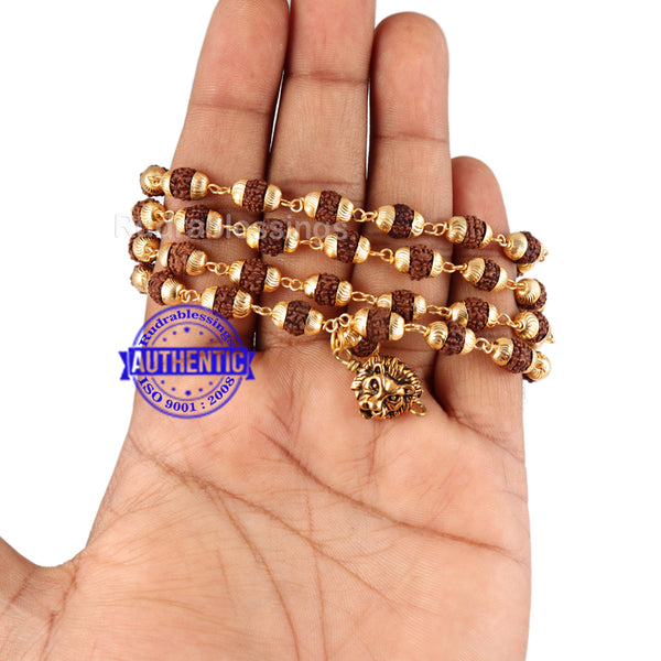 5 Mukhi Rudraksha Mala in gold plated caps with Lion Pendant