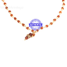 Load image into Gallery viewer, 5 Mukhi Rudraksha Mala in gold plated caps with Owl Pendant