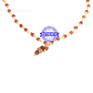 5 Mukhi Rudraksha Mala in gold plated caps with Owl Pendant