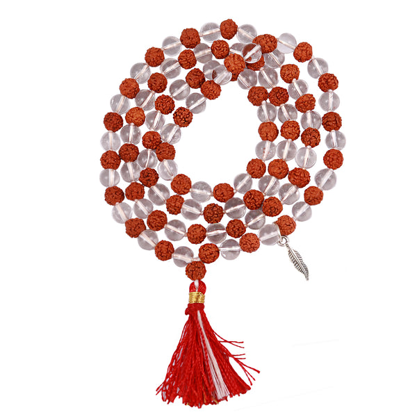 Rudraksha Sphatik (Rock Crystal) Mala with Lucky Charm Feather Pendant