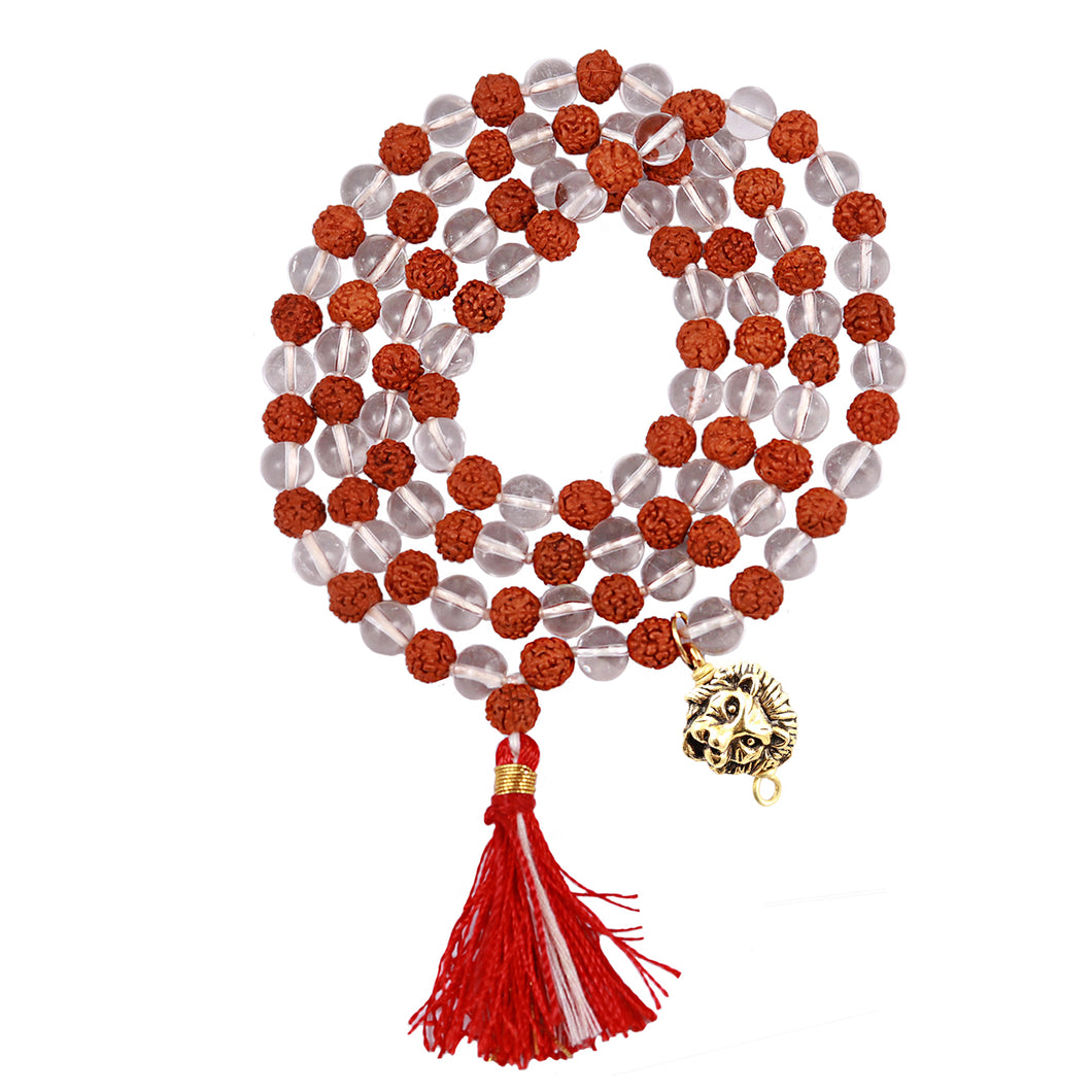 Rudraksha Sphatik (Rock Crystal) Mala with Lucky Charm Lion Pendant