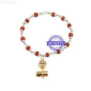 5 Mukhi Rudraksha Bracelet in silver plated caps with Lion Pendant