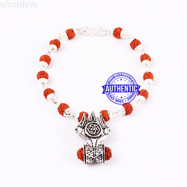 5 Mukhi Rudraksha Bracelet in silver plated caps with Trishul and Damru Pendant