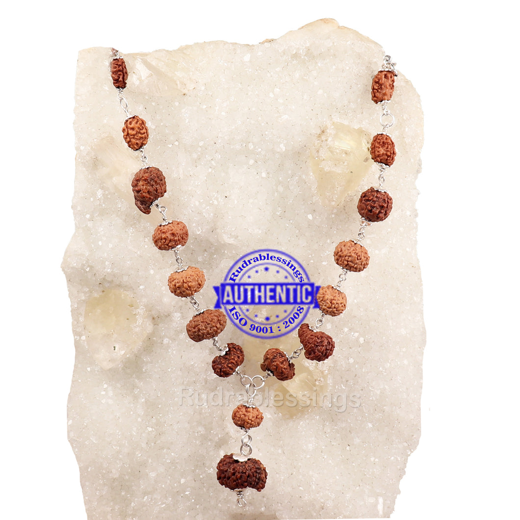 Ganesha Rudraksha SidhShakti Mala from Indonesia (Mini size beads) - 1 (Pure Silver)