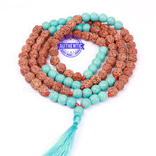 Load image into Gallery viewer, Turquoise Stone + Rudraksha Mala