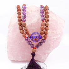 Load image into Gallery viewer, Amethyst Stone + Rudraksha Mala