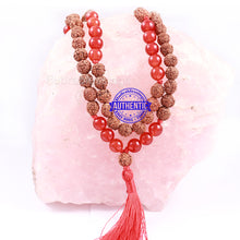 Load image into Gallery viewer, Red Aventurine Stone + Rudraksha Mala