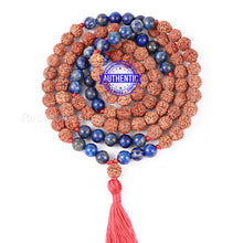 Load image into Gallery viewer, Lapis Lazuli Stone + Rudraksha Mala