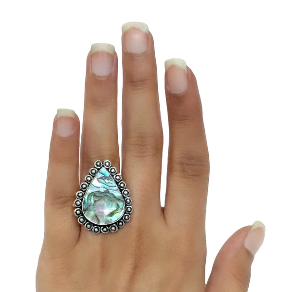 Green Abalone Ring - 23