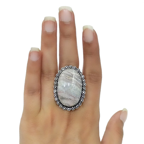 White Lace Agate Ring - 40