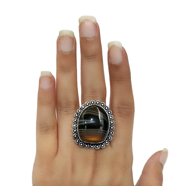Banded Black Agate Ring - 44