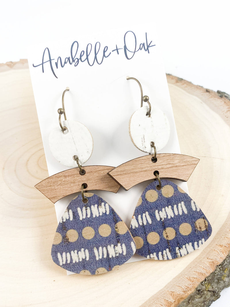 Navy & Wood Tiered Earrings