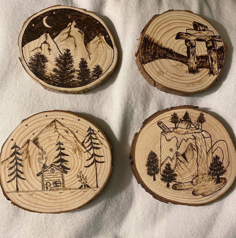 Outdoors Woodland Mountain Woodburned Coasters