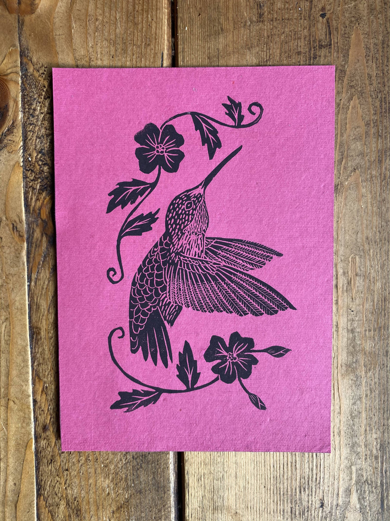 Hummingbird and Flowers - Hand-stamped Art Print