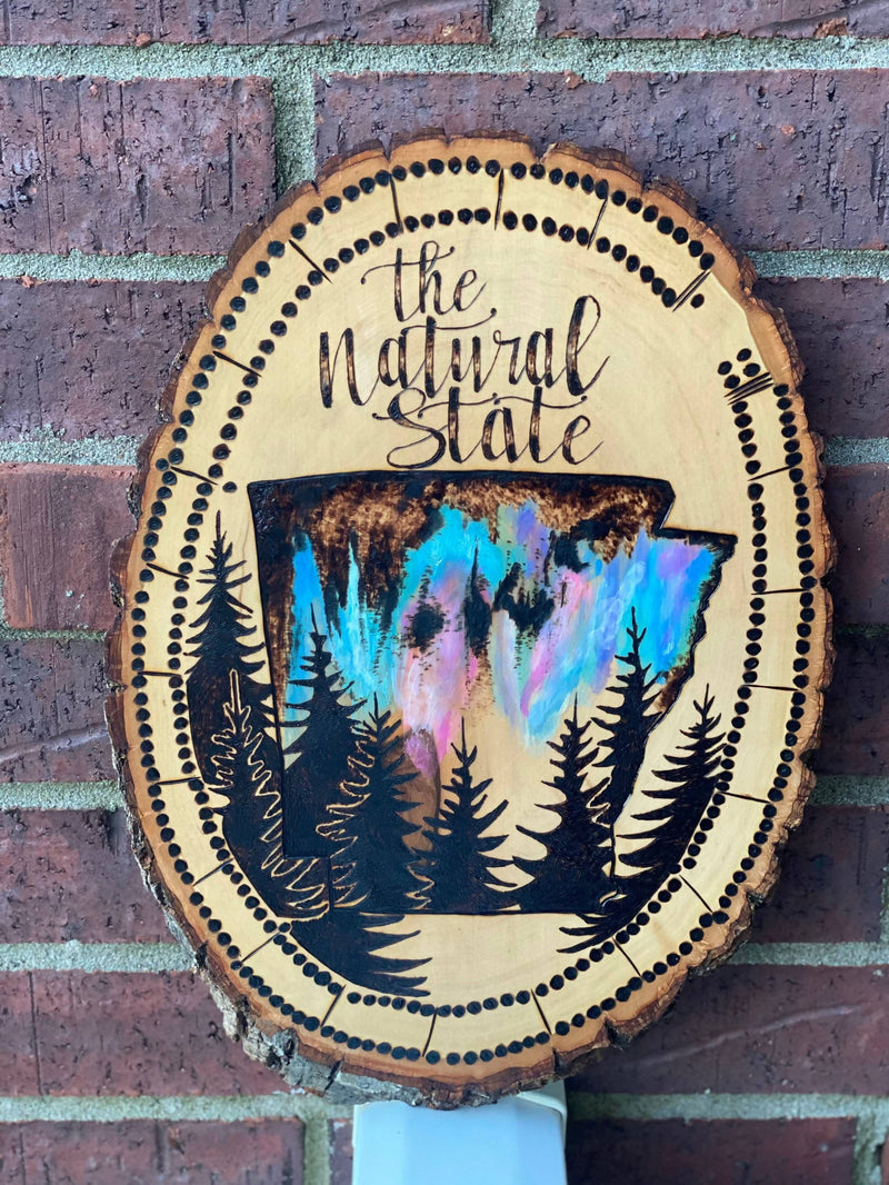 Arkansas Woodburn Watercolor Sign Wall Art