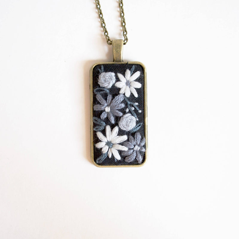 Blue Monotone Embroidered Pendant Necklace