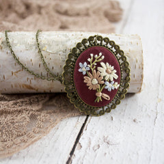 Hand Embroidered Wildflower Necklace