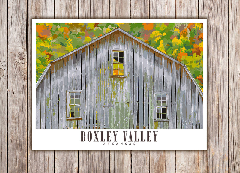 Boxley Valley Arkansas Travel Poster | Historic Barn | Print Only