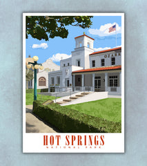 Hot Springs National Park Travel Poster | Arkansas | Print Only (Frame Not Included)