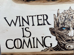 Game of Thrones Night King Winter is Coming Woodburning