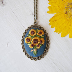 Blue Hand Embroidered Sunflower Necklace
