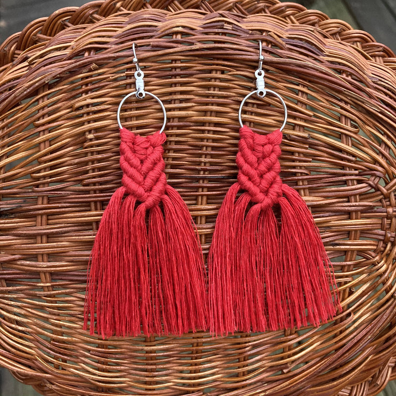 Mini Macrame Fringe Earrings