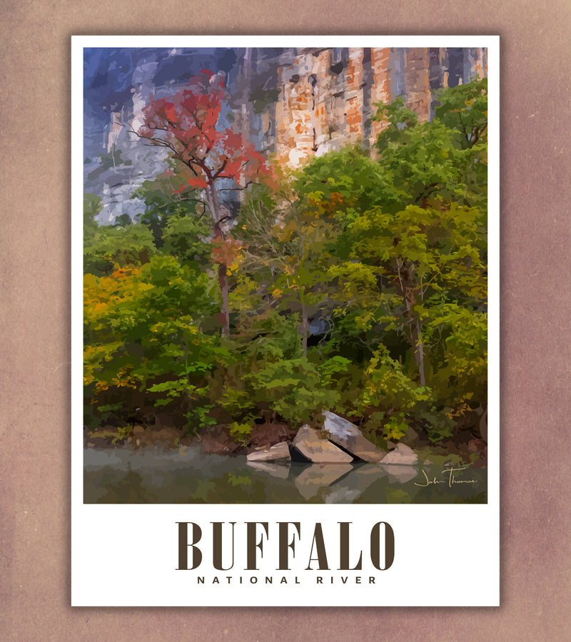 Buffalo National River Travel Poster | Roark Bluff | Arkansas USA | Print Only