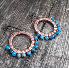 Beautiful hammered copper and genuine blue agate boho dangle hypoallergenic Earrings