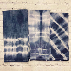 Shibori Tea Towels in Denim Blue
