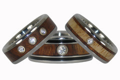 Diamond & Wood Titanium Rings