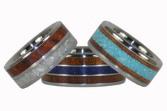 Wood and Stone Titanium Rings