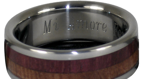Titanium Wood Rings engraving mi amore
