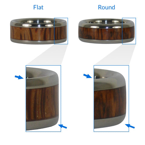 Flat vs Round Profile - Titanium Wood Rings