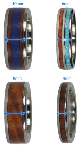 Titanium Wood Ring widths