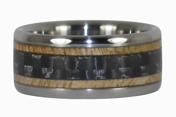 Black Carbon Fiber and Mango Wood Titanium Ring
