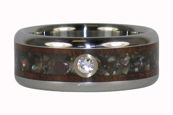 Black Pearl and Koa Wood Diamond Titanium Ring