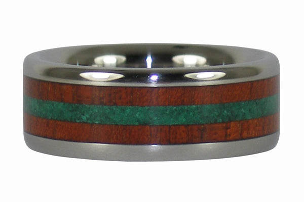 Malachite Titanium Ring with Bloodwood