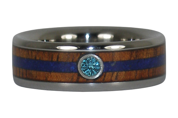 Blue Diamond Titanium Ring with Koa and Lapis