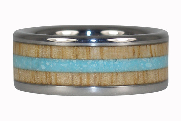 Turquoise and Mango Wood Titanium Ring