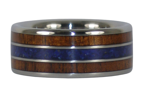 Dark Koa and Lapis Titanium Ring