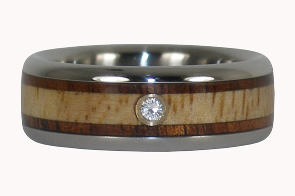 Diamond Titanium Ring with Koa and Mango Wood