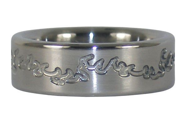 Flame Engraved Titaniun Ring