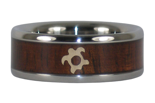 Gold Turtle and Koa Wood Titanium Ring