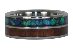 Green Opal and Dark Koa Titanium Ring